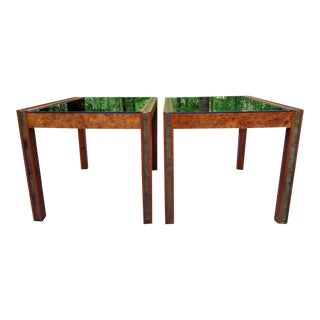 1960s Milo Baughman Style Burl Walnut Brass Inlay Parsons End Tables ~ a Pair For Sale