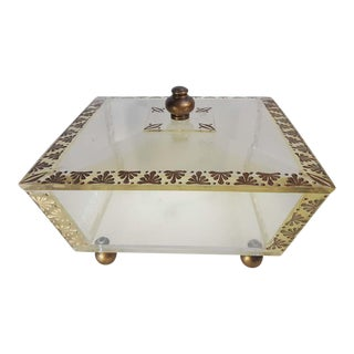 Large Clear Acrylic Lucite Box With Lid Art Deco