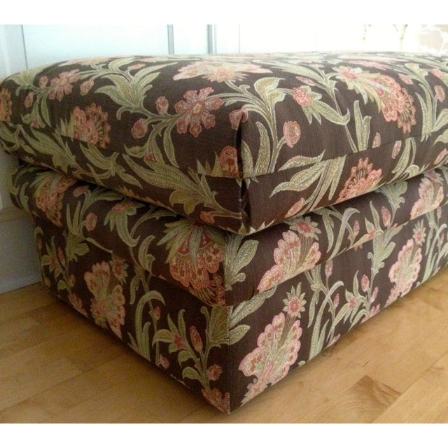 Custom Tapestry Upholstered Ottoman - Image 4 of 4