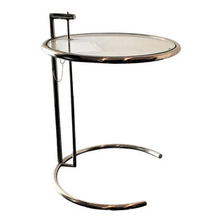 Eileen Gray Style Chrome & Glass Side Table