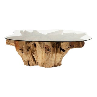 Modern Weathered Teak Root Custom Cut Glass Top Coffee Table For Sale