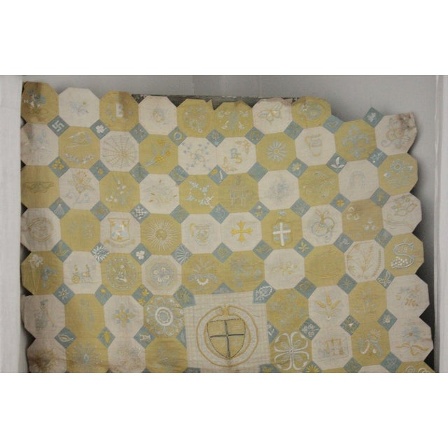 Vintage English Ramsgate Heraldry Linen Embroidered Block Quilt For Sale - Image 4 of 12