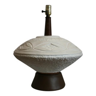 Mid Century Modern Teak & Pottery Saucer Shaped Electric Table Lamp For Sale