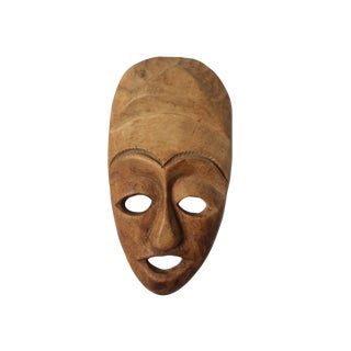 Tribal Hand Carved Solid Wood Face Mask Wall Hanging For Sale