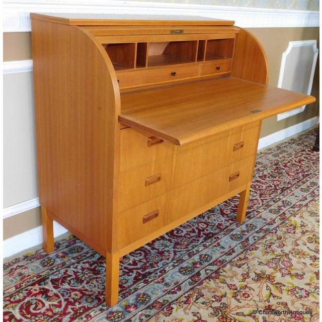 Egon Ostergaard Scandinavian Teak Cylinder Desk For Sale - Image 5 of 9