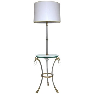 French Maison Jansen Style Brushed Steel and Brass Lamp Side Table For Sale