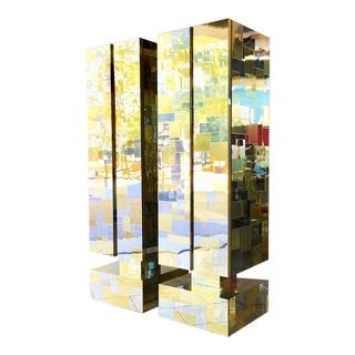Pair of Totem Cityscape Cabinets by Paul Evans 1970s For Sale
