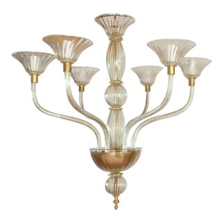 Large Mid-Century Modern 6 Arms Gold Leaf Murano Glass Chandelier For Sale