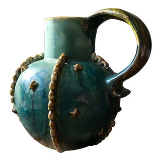 "Final Markdown Vintage English Art Deco Bourne Denby Pottery ""Emerald"" Pitcher For Sale"