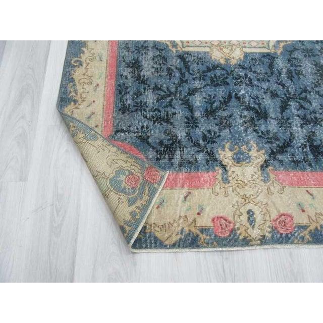 Vintage Turkish Deco Blue Ground Rug - 4′9″ × 8′6″ - Image 6 of 6