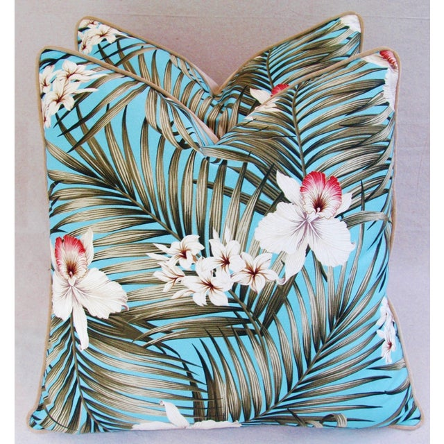 Custom Tropical Palm & Orchid Pillows - A Pair - Image 7 of 11