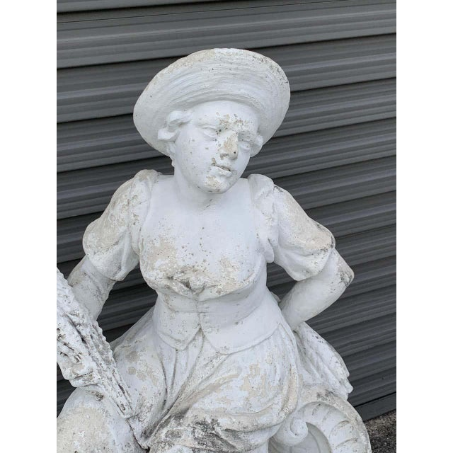 Stone Large Versailles Style Cast Stone Statue of 'Harvest' on a Pedestal Base For Sale - Image 7 of 12