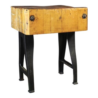 1910 Industrial Cast Iron Leg Butcher's Block Island For Sale
