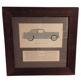 Vintage Framed 1940 Lincoln Continental Car Print For Sale