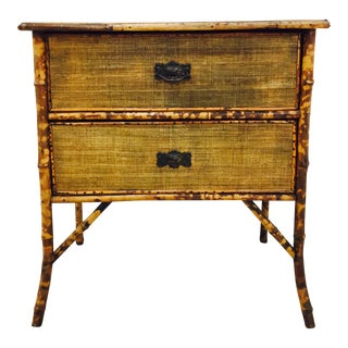 Antique Scorched Bamboo & Grasscloth Dresser Chest For Sale