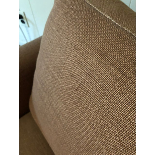 21st Century Vintage Jute Brown Slipcover Swivel Chair For Sale In San Francisco - Image 6 of 8