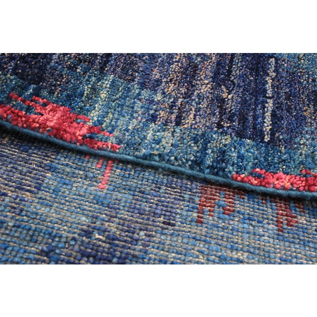 """1960's design abstract, bohemian, stunning pink and blue, handmade, wool, rug 6'0"""" x 9'5"""" Country of Origin: Turkey..."""