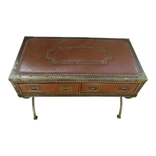 Vintage Leather Trunk Accent Table