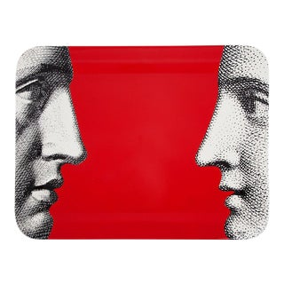 "Fornasetti ""Profile on Red"" Solid Wood Tray"