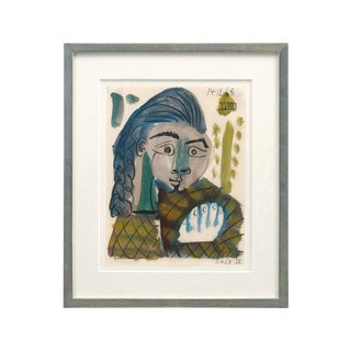 "Mid-Century Abstract ""Woman With Blue Hair"" Watercolor Painting by Raymond Debieve For Sale"