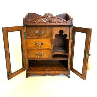 19th Century Antique English Tiger Oak Tobacco Cabinet Preview