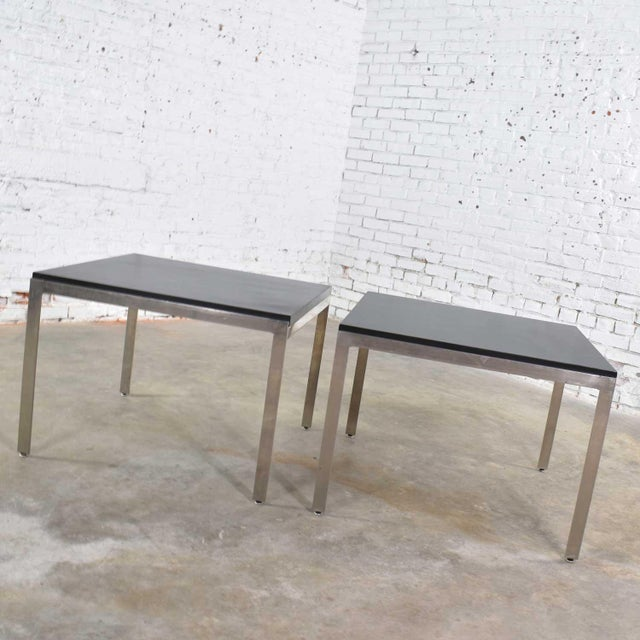 Pair Vintage Large Modern Square End Tables in Stainless Steel With Black Laminate Tops For Sale - Image 4 of 13