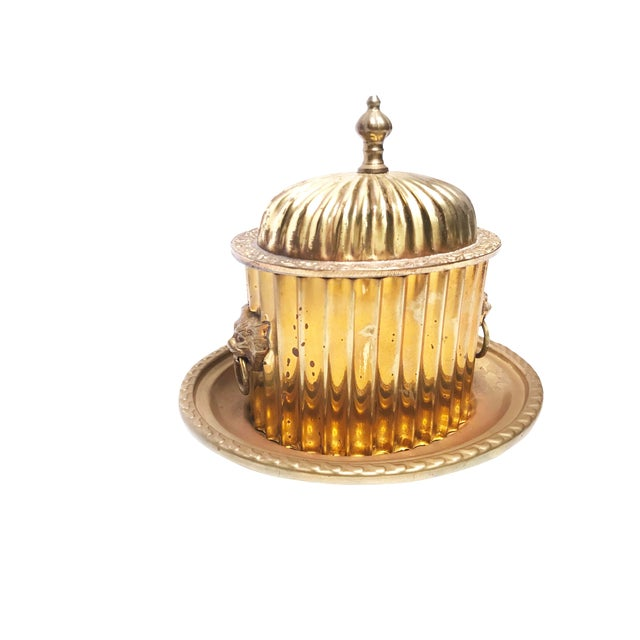 1960s Boho Chic Solid Brass Trinket Box With Tray, Lion Knocker Handles, and Intricate Lid For Sale