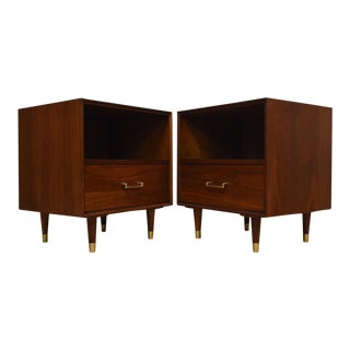 Furnette Walnut and Brass Nightstands- a Pair