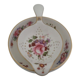 Floral Tea Strainer and Drip Bowl For Sale
