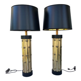 Mid Century Faux Bamboo Metal Lamps - a Pair For Sale