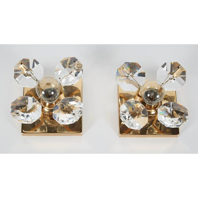 Pair of Cut Crystal and Gold Hollywood Regency Sconces by Christoph Palme For Sale In New York - Image 6 of 13