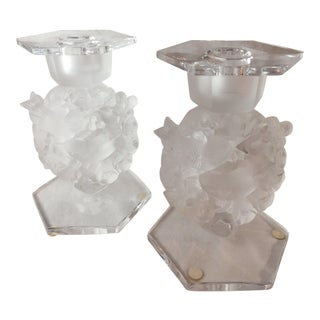 1950s Lalique Crystal 'Mesanges' Candleholders - Set of 2 For Sale
