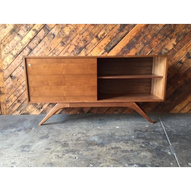 Mid Century Style Custom Walnut Sculpted Base Credenza For Sale - Image 5 of 9