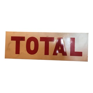 Mid 20th Century Large Total Gasoline Metal Sign For Sale