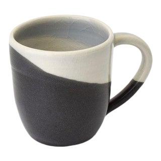 Contemporary Handmade Gray and Charcoal Mug by FisheyeCeramics For Sale