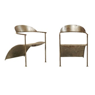 Vintage French Modern Style Metal Arm Chairs by Designer Philippe Starck- A Pair For Sale