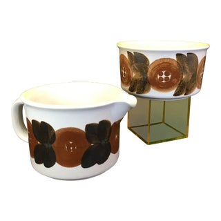 Vintage Arabia of Finland Rosmarin Pattern Creamer and Sugar Bowl - a Pair For Sale