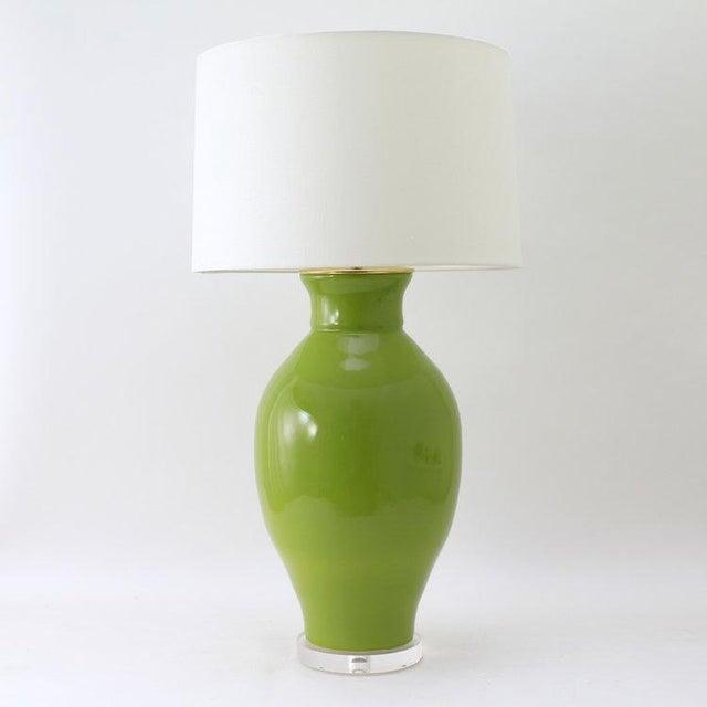 "Paul Schneider Paul Schneider Ceramic ""Matagorda"" Lamp in Glossy Olive Glaze For Sale - Image 4 of 6"
