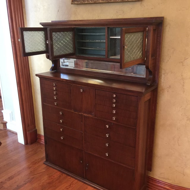 Beautiful antique dental cabinet. Bought from an antique store in 1975.  Very heavy! - Antique Dental Cabinet Chairish