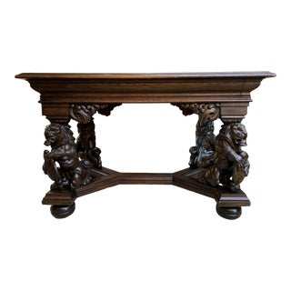 19th Century French Carved Oak Desk Library Table Lion Crest Renaissance Baroque For Sale