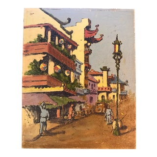 1950s Vintage San Francisco Chinatown Oil Painting For Sale