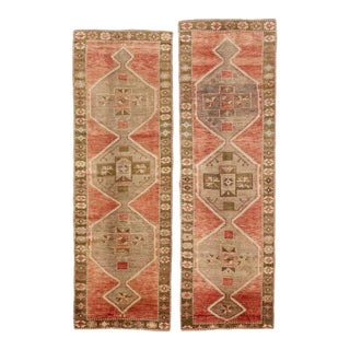 Pair of Vintage Turkish Oushak Carpet Runners with Traditional Modern Style For Sale