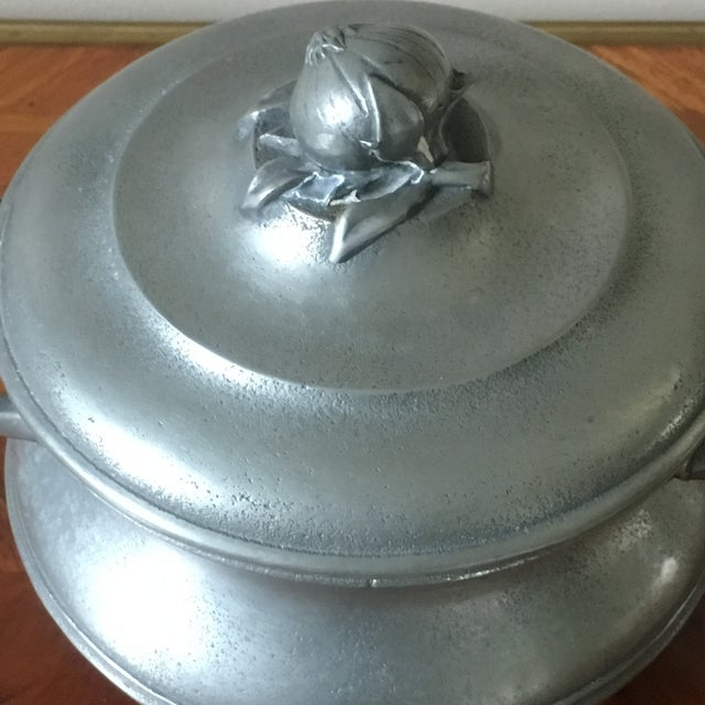 Vintage French Pewter Tureen With Onion Finial For Sale - Image 4 of 9