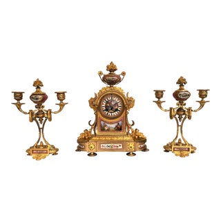 "Rare Antique French ""DuBarry Rose"" Porcelain and Original Ormolu Clock Set, Circa 1880-1890. For Sale"