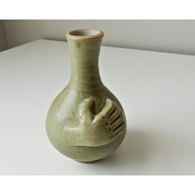 Mini Bud Vase with Hand in Celadon - Image 2 of 8