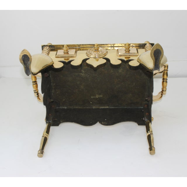 19c Fireplace Accesories - Brass Tea Kettle Heater With Its Log Tool For Sale - Image 4 of 13