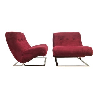 Pair Chrome Lounge Chairs Style of Milo Baughman For Sale
