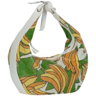 2004 Chloè Phoebe Philo Banana Print Chain Mail Leather Shoulder Bag For Sale