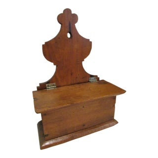 18th Century Early American Pine Wood Lift Top Compartment Wall Box For Sale