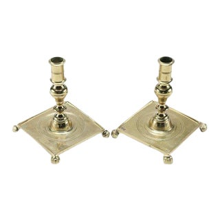Brass Candle Holders With Paw Feet- a Pair For Sale
